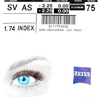 Zeiss Single Vision 1.74 AS DV Platinum